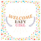 Welcome baby girl shower card. Cute postcard. Arrival card Stock Photos