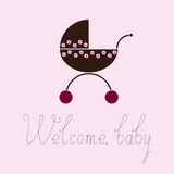 Welcome baby greeting card with pram Stock Images