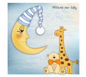 Welcome baby greetings card. With toys Stock Photography