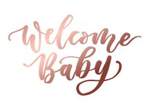 Welcome baby rose gold lettering inscription. Baby shower cute l vector illustration