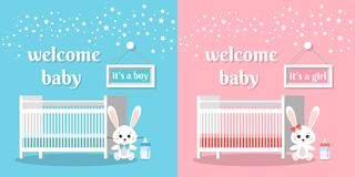 Welcome baby set it`s a boy and girl vector illustration stock illustration