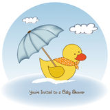 Welcome baby shower card. With duck toy Stock Photos