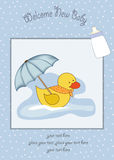 Welcome baby shower card. With duck Royalty Free Stock Photography