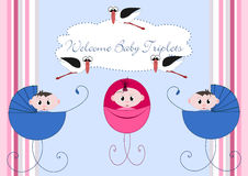 Welcome Babys. Welcome baby triplets, 2 boys and 1 girl Royalty Free Stock Photography