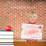 Welcome back against red apple on pile of books Royalty Free Stock Photography