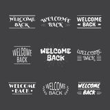 Welcome back collection. Set of 9 labels, emblems, stickers or b Stock Image