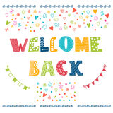 Welcome back lettering text. Hand drawn design elements Royalty Free Stock Photo