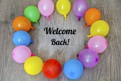 Welcome Back Message in Balloon Frame royalty free stock images
