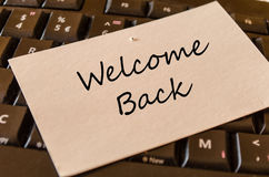 Welcome back note Stock Photo