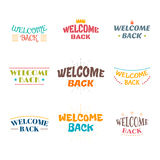 Welcome back. Set of 9 colored labels, stickers, emblems or badg Royalty Free Stock Photos