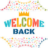 Welcome back text with colorful design elements. Cute postcard. Stock Photo