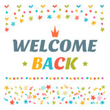 Welcome back text with colorful design elements. Decorative lett Stock Photos