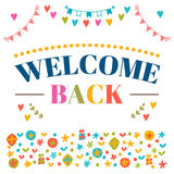 Welcome back text with colorful design elements. Greeting card. Royalty Free Stock Image