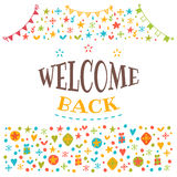 Welcome back text with colorful design elements. Postcard. Cute Stock Photos