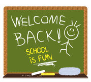 Welcome back to school. Chalkboard with handwritten - welcome back! school is fun - text made by children Royalty Free Stock Photo