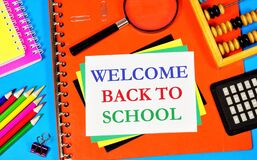 Free Welcome Back To School. A Text Inscription In A Textbook, An Opportunity To Learn New Knowledge And Get An Education. Stock Photo - 213667680