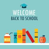 Welcome back to school background Book shelf with books milk and apple Stock Image