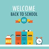 Welcome back to school background Books clock and milk. Vector illustration Stock Photography