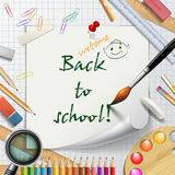Welcome Back to school background or card with rulers, pencils, Royalty Free Stock Image