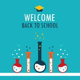 Welcome back to school background Chemistry theme. Vector illustration Royalty Free Stock Photos