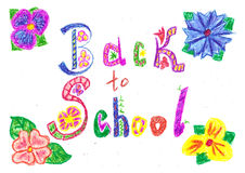 Welcome back to school background drawn with colored wax pencils Stock Photo