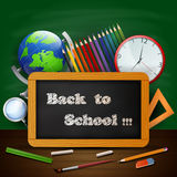 Welcome back to school background with school equipment. Illustration of Welcome back to school background with school equipment Stock Images