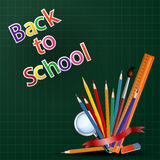 Welcome back to school background with school equipment Stock Photo