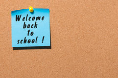 Welcome back to school background, sticker on notice board Royalty Free Stock Photo