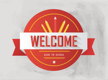 Welcome back to school badge in red Royalty Free Stock Image