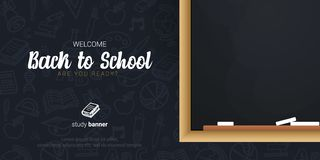 Welcome Back to School banner with chalkboard and dark hand draw doodle background. Welcome Back to School banner with chalkboard and dark hand draw doodle stock illustration