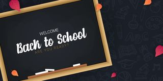 Welcome Back to School banner with chalkboard and dark hand draw doodle background. Welcome Back to School banner with chalkboard and dark hand draw doodle vector illustration