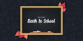 Welcome Back to School banner with chalkboard and dark hand draw doodle background. Welcome Back to School banner with chalkboard and dark hand draw doodle royalty free illustration