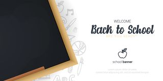 Welcome Back to School banner with chalkboard and white hand draw doodle background. Welcome Back to School banner with chalkboard and white hand draw doodle stock illustration