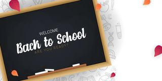 Welcome Back to School banner with chalkboard and white hand draw doodle background. Welcome Back to School banner with chalkboard and white hand draw doodle royalty free illustration