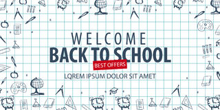 Welcome Back to School banner with different school objects. School sale banners and best offers. Welcome Back to School banner with different school objects Royalty Free Stock Images