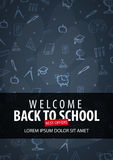 Welcome Back to School banner with different school objects. School sale banners and best offers. Welcome Back to School banner with different school objects Royalty Free Stock Image