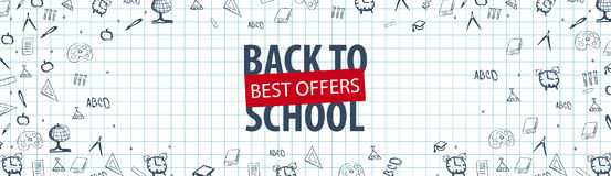 Welcome Back to School banner with different school objects. School sale banners and best offers. Stock Images