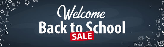 Welcome Back to School banner with different school objects. School sale banners and best offers. Welcome Back to School banner with different school objects Stock Images