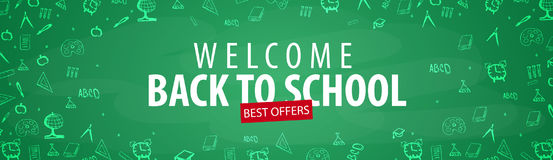 Welcome Back to School banner with different school objects. School sale banners and best offers. Welcome Back to School banner with different school objects Stock Photos