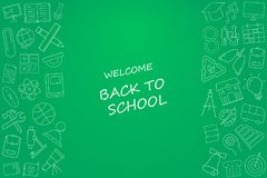 Welcome back to school banner with line icon on blackboard. Design template for banner, poster. Vector illustration Royalty Free Stock Photos