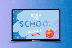 Welcome Back to school. Banner with set of doodle icons and mega sale 50 and sticker in realistic laptop. Concept for education. V royalty free illustration
