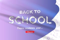 Welcome Back to school. Banner with set of doodle icons on white background. Concept for education. Vector illustration EPS10 Stock Photos