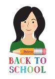 Welcome back to school banner. Smily pupil & crayon Royalty Free Stock Photography