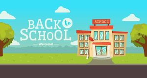 Welcome back to school banner. Street with educational building exterior stock illustration