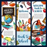 Back to School vector sketch stationery banners. Welcome Back to School banners of lesson stationery, book, pen or pencil and autumn maple or rowan leaf and Stock Photos