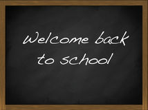 Welcome back to School blackboard. With wooden frame illustration Royalty Free Stock Photography