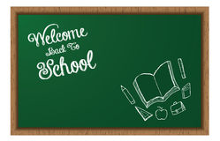 Welcome Back To School BlackBoard With Doodles Royalty Free Stock Photography
