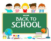 Welcome Back To School Blackboard Illustration. Royalty Free Stock Photos