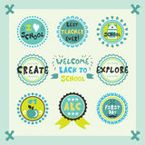 Welcome Back To School blue cute circle emblems and labels set Royalty Free Stock Photography