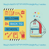 Welcome Back To School blue and yellow message and stationery icons Royalty Free Stock Image